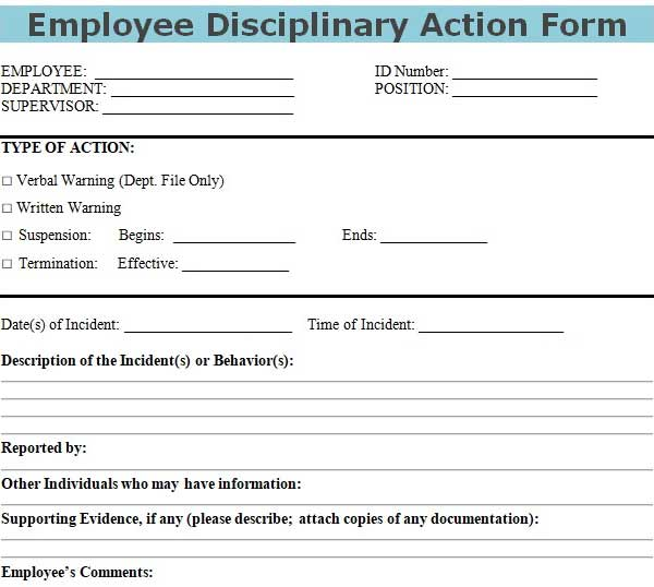 download employee disciplinary action form