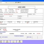 Job Card Template Excel