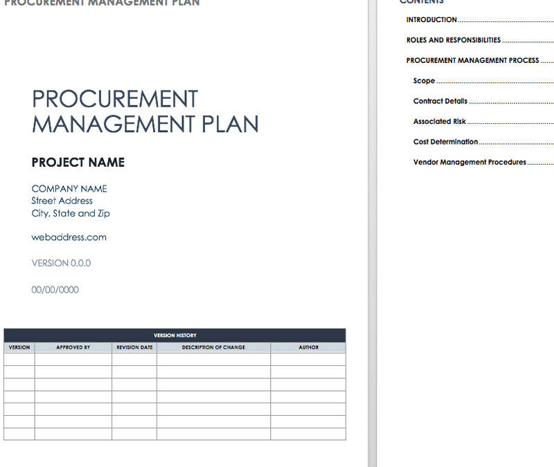 Procurement Management Plan Example from www.excel124.net
