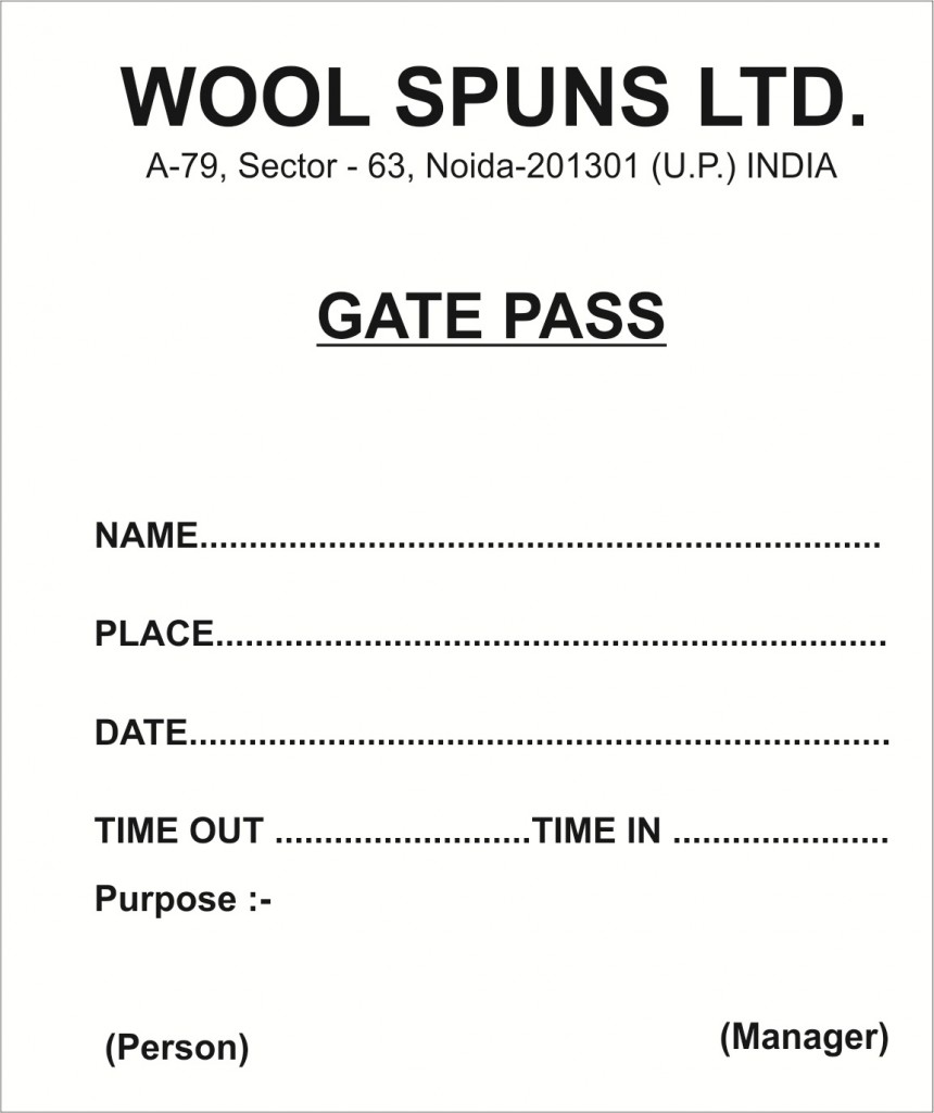 download security gate pass for goods template