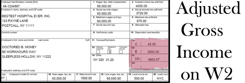Adjusted-Gross-Income-on-W2 Tax Form Adjusted Gross Income Example on