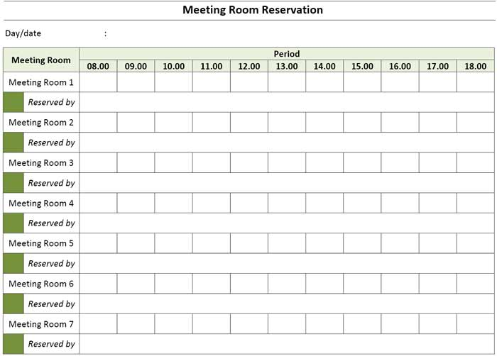 Meeting Room Booking Reservation Template Excel