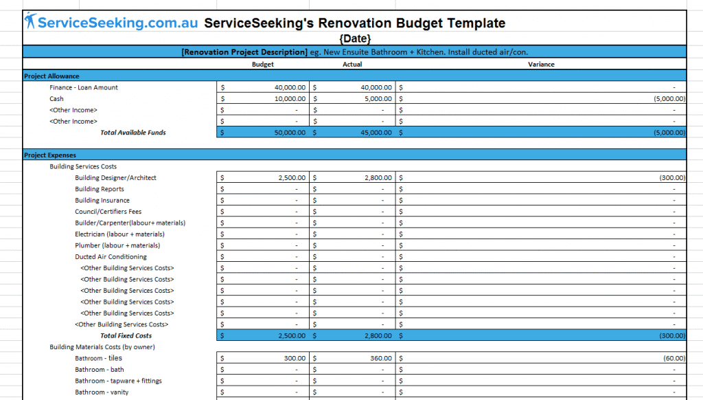 House Renovation Cost Spreadsheet